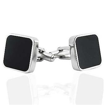 Urban Male Square Stainless Steel & Black Resin Cufflinks
