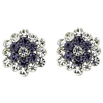 Clip On Earrings Store Clear and Tanzanite Purple Crystal Floral Cluster Clip on