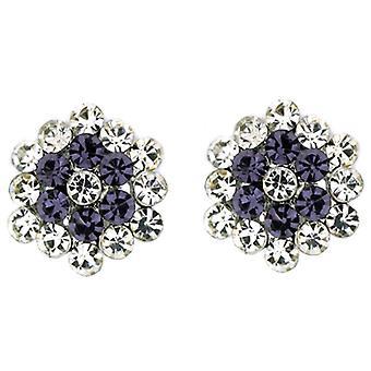 Clip auf Ohrringe Shop klar und Tanzanite Kristall lila Floral Cluster auf Clip
