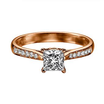 0.92 karat G VS1 diamant Engagement Ring 14K Rose Gold Solitaire w accenter kanal sæt Cathedral
