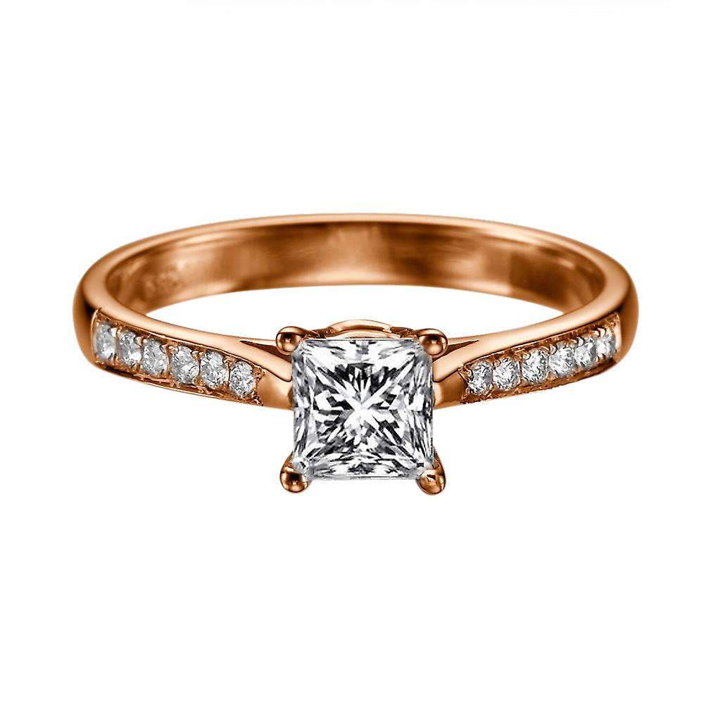 1.52 Carat H VS1 Diamond Engagement Ring 14K Rose Gold Solitaire w Accents Channel Set Cathedral