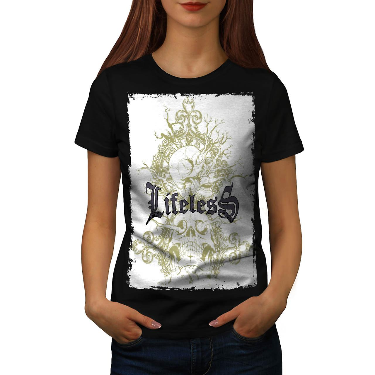 Lifeless Gothic Skull Women Black T-shirt | Wellcoda