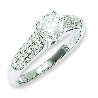 Sterling Silver and Cubic Zirconia Fancy Ring - Ring Size: 6 to 8