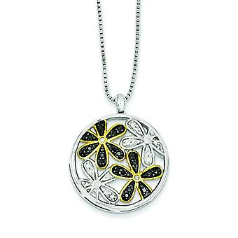Sterling Silver With Gold-plating White and Black Diamond Flower Pendant - .27 dwt