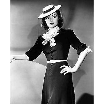 Olivia De Havilland Modeling A Spring Frock Of Navy-Blue Bengaline With White Accents And A Felt Boater Hat 1939 Photo Print