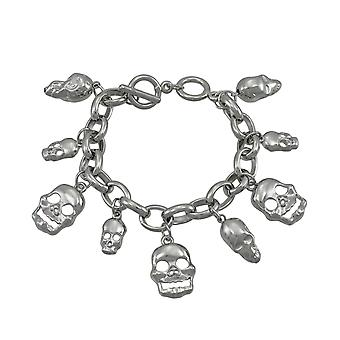 Polished Chrome 3D Dangling Skulls Charm Bracelet