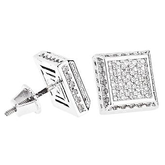 Iced Out Bling Micro Pave Ohrstecker - SLOPE 10mm