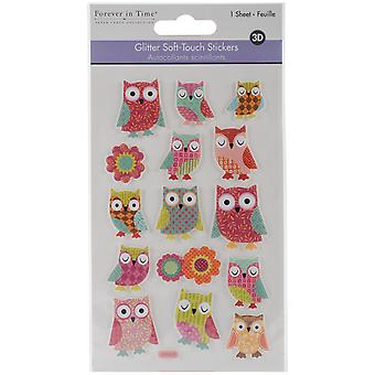MultiCraft Glitter Soft-Touch Dimensional Stickers-Owl SS134-A