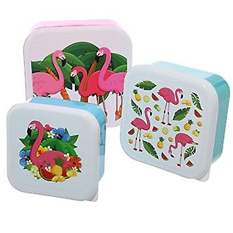 Puckator 11.5cm, 10cm & 8.5cm Flamingo Lunchboxes, Set of 3