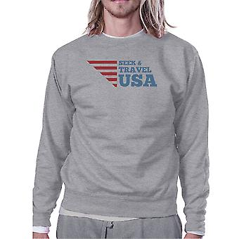 Seek & Travel USA Unisex Graphic Sweatshirt Gray Round Neck Fleece