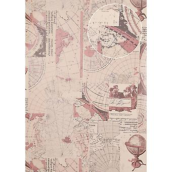 Graphic wallpaper Atlas SIG-586-4 non-woven wallpaper smooth maritime design shimmering grey old pink umbra grey grey white 5.33 m2