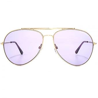 Lunettes de soleil Tom Ford Indiana aviateur en or Rose brillant Violet