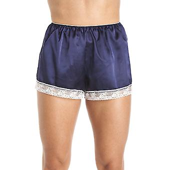 Camille Luxury Blue Satin French Knicker Shorts