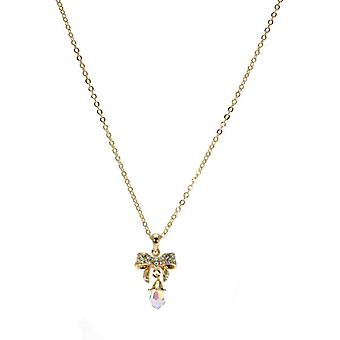 W.A.T Sparkling Crystal Bow Droplet Necklace