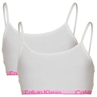 Calvin Klein Girls 2 Pack Modern Cotton String Bralette, White / Pink Trim, Large