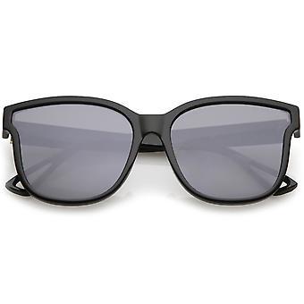 Women's Horn Rim Metal Accent Square Flat Lens Cat Eye Sunglasses 55mm