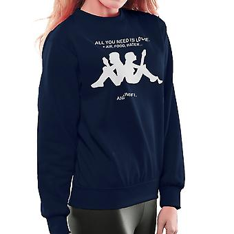 Love & Wifi Kappa Logo Quote Women's Sweatshirt