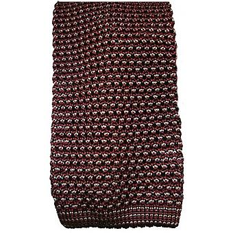 KJ Beckett Silk Two Tone Knitted Tie - Wine/Grey