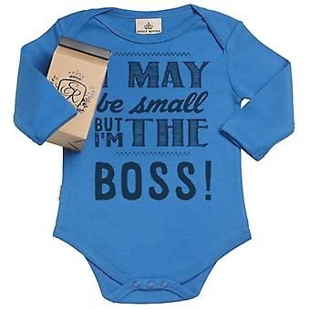 Spoilt Rotten I Am The Boss Organic Babygrow In Gift Milk Carton