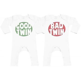 Spoilt Rotten Good & Bad Twin Baby Footless Romper Twins Set