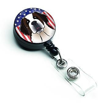 American Flag and Saint Bernard Retractable Badge Reel