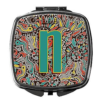 Letter N Retro Tribal Alphabet Initial Compact Mirror