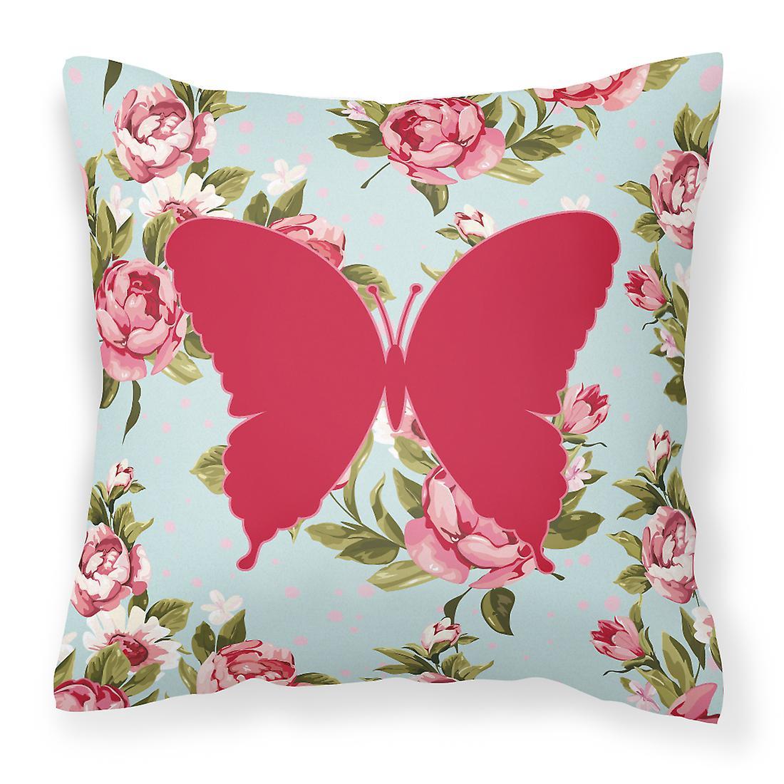 Décoratif Roses Oreiller Bleu Toile Bb1048 Tissu Minable Papillons Chic drhQts