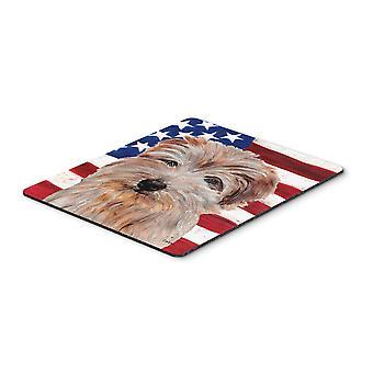 アメリカ国旗 USA マウス パッド、ホット パッドや五徳のノーフォーク テリア