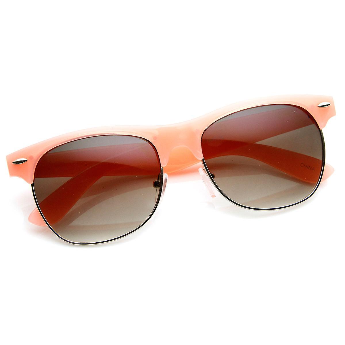 2d20e87c80 Pastel Color Semi-Rimless Half Frame Classic Horn Rimmed Sunglasses ...
