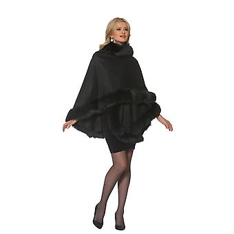 Womens Fox Fur Trimmed Cashmere Cape Black - Your Lady
