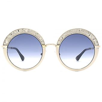 Jimmy Choo Gotha Crystal Glitter Round Sunglasses In Light Matte And Shiny Gold Blue