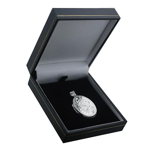 Silver 30x24mm hand engraved flat oval Locket
