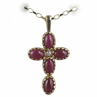 9ct Gold 25x16mm Cross set with 5 Rubies and 1 Pearl on a belcher Chain 16 inches Only Suitable for Children