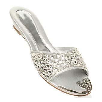 Ajvani womens low wedge wedding bridal party evening flip flops slip on mules sandals shoes