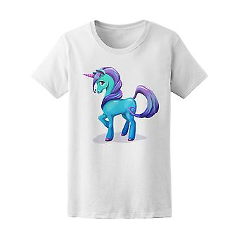 Holographic Blue Unicorn Pony Graphic  Tee - Image by Shutterstock