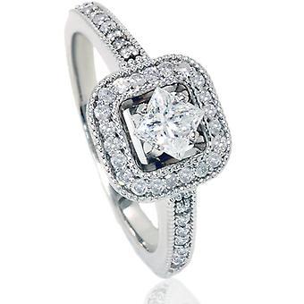 3 / 4ct Prinzessin Schnitt Diamant Verlobungsring 14K White Gold