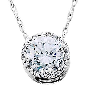 1/2ct Lab Created Diamond Halo Pendant 14K White Gold