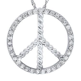 3 / 8ct paix diamant pendentif 14K or blanc