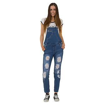 Ladies Distressed Denim Dungarees - Slim Fit Stonewash Bib Overalls with Rips