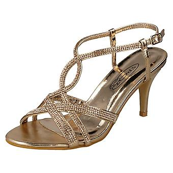Ladies Spot On Diamante Sandals F10838 - Rose Gold Synthetic - UK Size 5 - EU Size 38 - US Size 7