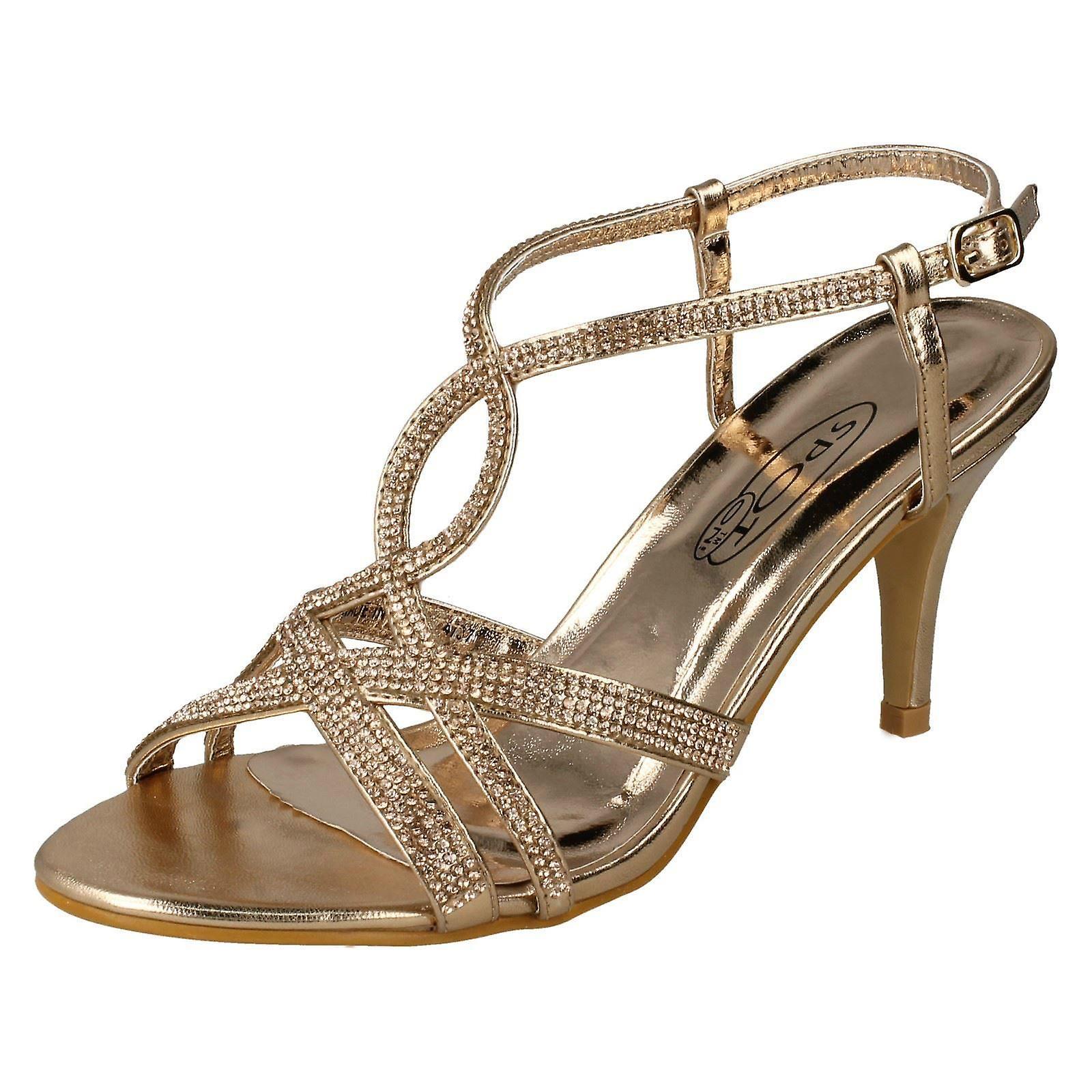 Gold 38 Spot EU On Size Ladies Synthetic F10838 Size 5 Sandals UK Size US 7 Diamante Rose YTCnwwqpO