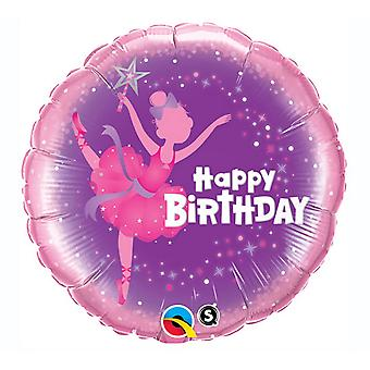 Qualatex Happy Birthday Ballerina Foil Balloon 18in