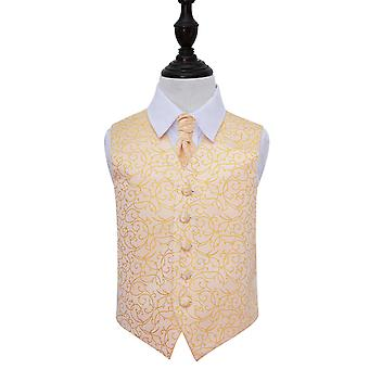 Gold Swirl Wedding Waistcoat & Cravat Set for Boys