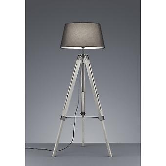 Trio Beleuchtung Stativ modernen grauen natürlichen Holz Stehleuchte