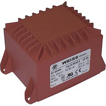 PCB mount transformer 1 x 230 V 1 x 24 V AC 25 VA 1042 mA 85/405 Weiss Elektrotechnik