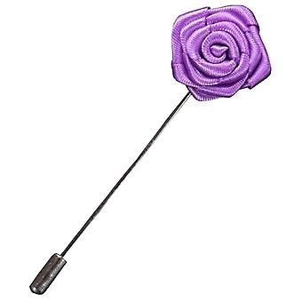 Bassin and Brown Rose Flower Lapel Pin - Lilac