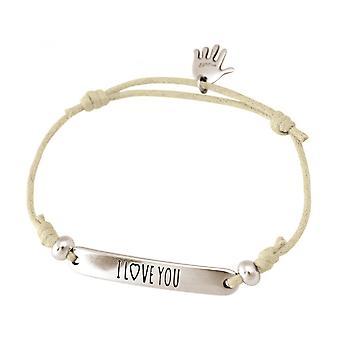 Women - bracelet - engraved - I LOVE YOU - silver - nude