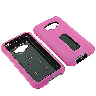 Durable Rugged Refuge Hybrid Case for LG Optimus Elite/M+/Plus/Quest (Hot Pink/B
