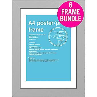 GB affiches 6 A4 argent MDF affiches cadres 29,7 x 21cm Bundle