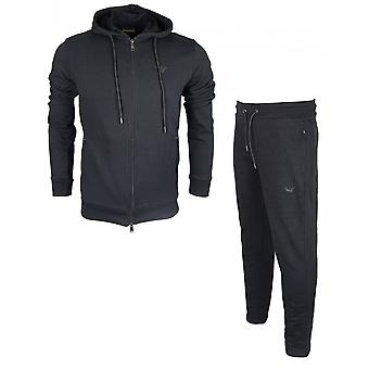 Emporio Armani Cotton Zip Up Hooded Black Tracksuit